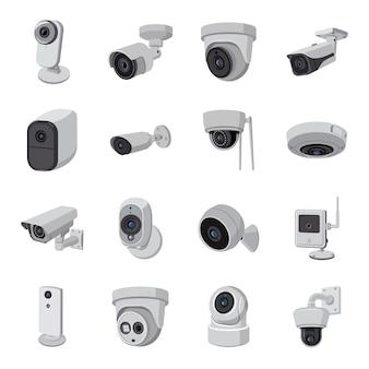 Conjunto de ícones de câmera dos desenhos animados.
