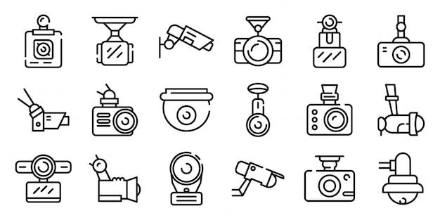 Conjunto de ícones de câmera dvr, estilo de estrutura de tópicos
