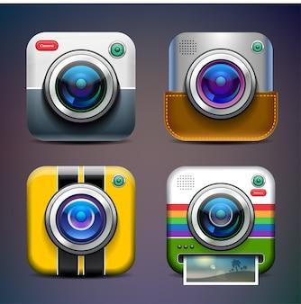 Conjunto de ícones de câmera fotográfica.