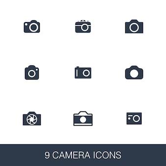 Conjunto de ícones de câmera. sinais de glifo de design simples. modelo de símbolo de câmera. ícone de estilo universal, pode ser usado para interface de usuário da web e móvel