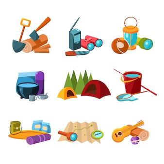 Conjunto de ícones de caminhadas e camping
