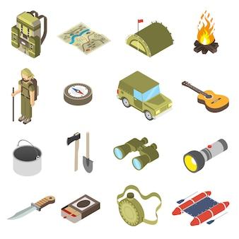 Conjunto de ícones de caminhadas e campismo