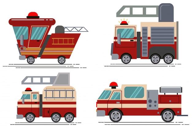 Conjunto de ícones de caminhão de bombeiros dos desenhos animados isolado no branco