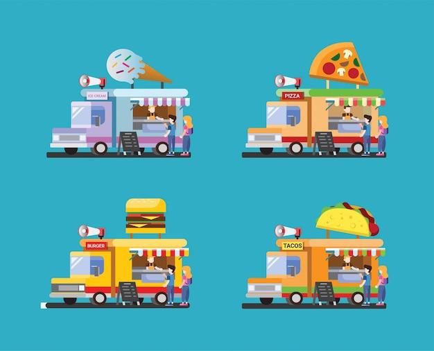 Conjunto de ícones de caminhão de comida com ilustração design plano