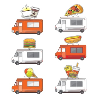 Conjunto de ícones de caminhão de comida de rua plana de vetor