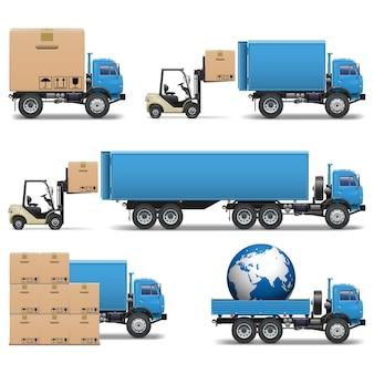 Conjunto de ícones de caminhões de remessa de vetores 2