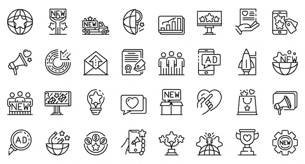 Conjunto de ícones de campanha, estilo de estrutura de tópicos