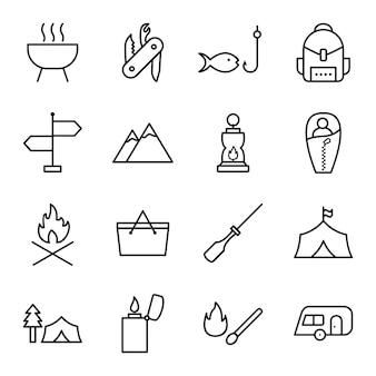 Conjunto de ícones de camping