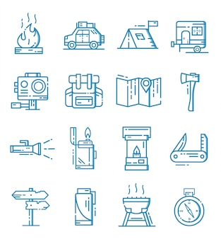 Conjunto de ícones de campismo com estilo de estrutura de tópicos