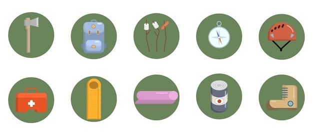 Conjunto de ícones de campismo plana