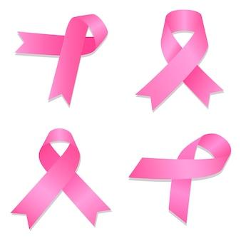 Conjunto de ícones de câncer de mama, estilo isométrico