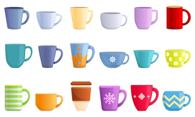 Conjunto de ícones de caneca. conjunto de desenhos animados de ícones de vetor de caneca