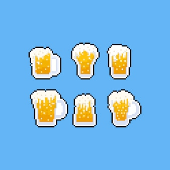 Conjunto de ícones de caneca de cerveja pixel art cartoon