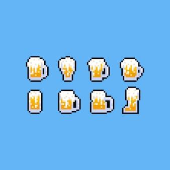 Conjunto de ícones de caneca de cerveja pixel art