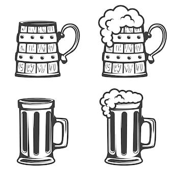 Conjunto de ícones de canecas de cerveja no fundo branco.