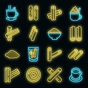 Conjunto de ícones de canela. conjunto de contorno de ícones de vetor de canela em cor néon em preto