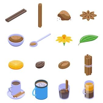 Conjunto de ícones de canela.