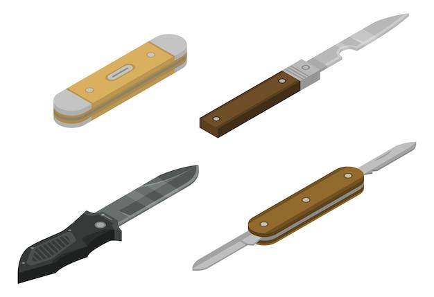 Conjunto de ícones de canivete, estilo isométrico