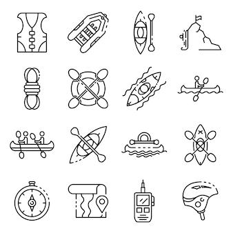 Conjunto de ícones de canoagem, estilo de estrutura de tópicos