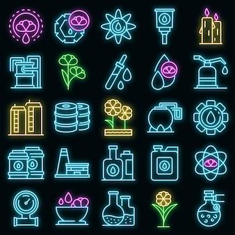 Conjunto de ícones de canola. conjunto de contorno de ícones de vetor de canola, cor de néon no preto Vetor Premium