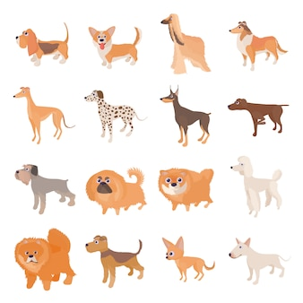 Conjunto de ícones de cão em estilo cartoon