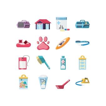 Conjunto de ícones de cão mascote gato anc isolado