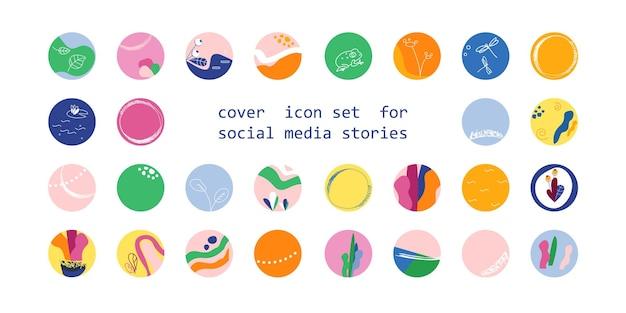 Conjunto de ícones de capa para histórias de mídia social fundos de coleção abstratos com formas