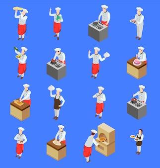 Conjunto de ícones de caracteres de cozinheiro