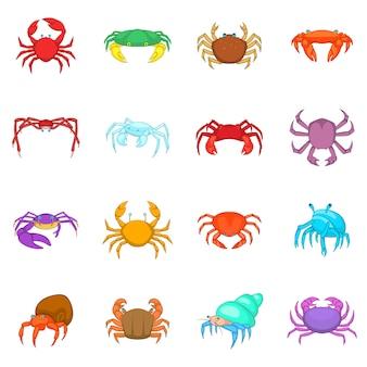 Conjunto de ícones de caranguejo colorido
