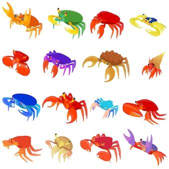 Conjunto de ícones de caranguejo em estilo cartoon