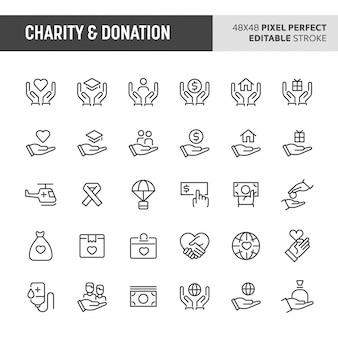 Conjunto de ícones de caridade e doação