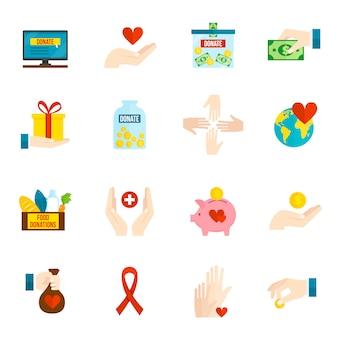 Conjunto de ícones de caridade plana