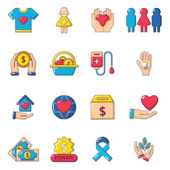 Conjunto de ícones de caridade