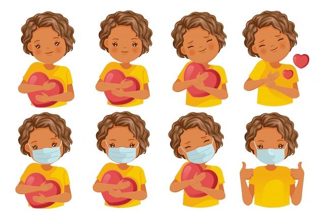Conjunto de ícones de carinho. emoticon de reações de cuidados. personagem de meninas, gestos e sentimentos.