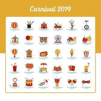 Conjunto de ícones de carnaval com estilo preenchido de contorno
