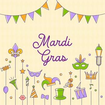 Conjunto de ícones de carnaval mardi gras, elemento de design