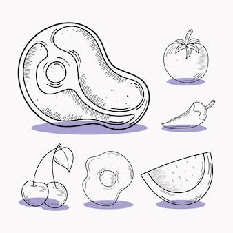 Conjunto de ícones de carne e comida