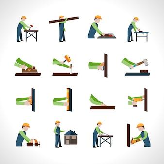 Conjunto de ícones de carpinteiro