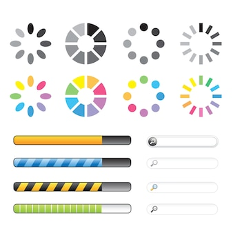 Conjunto de ícones de carregamento e buffering. vetor