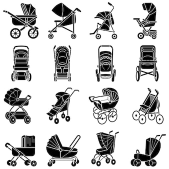 Conjunto de ícones de carrinho de bebê, estilo simples