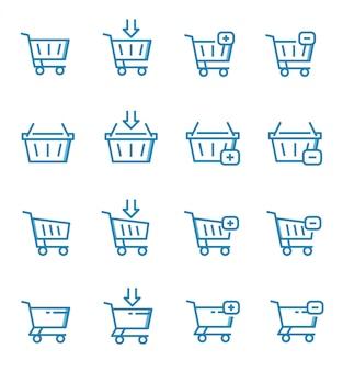 Conjunto de ícones de carrinho de compras com estilo de estrutura de tópicos