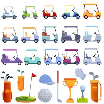 Conjunto de ícones de carrinho de golfe, estilo cartoon
