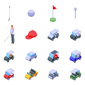Conjunto de ícones de carrinho de golfe, estilo isométrico
