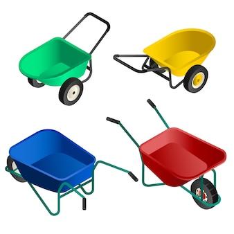 Conjunto de ícones de carrinho de mão. isométrico conjunto de carrinho de mão