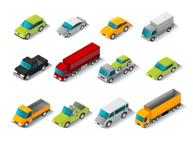 Conjunto de ícones de carro isométrica