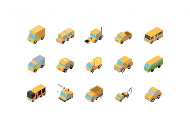 Conjunto de ícones de carros amarelos isométricos isolados
