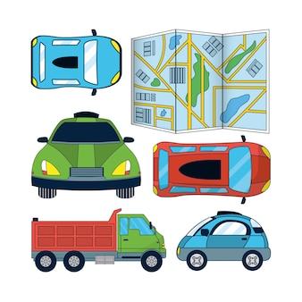 Conjunto de ícones de carros autônomos