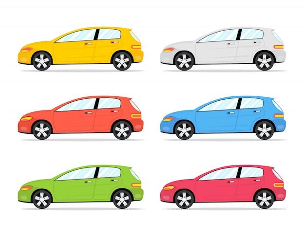 Conjunto de ícones de carros de cor dos desenhos animados