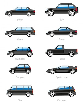 Conjunto de ícones de carros diferentes tipos