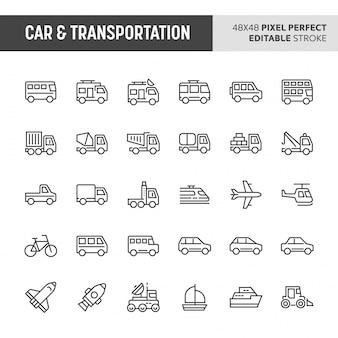 Conjunto de ícones de carros e transportes
